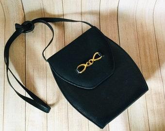 54b3488de53 Vintage 1980's Navy Faux Leather Shoulder Handbag Crossbody Bag Clarks Bag  Gift for Her