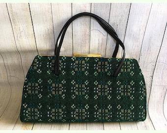 a3cc0226db Vintage 1960 s Green Tapestry Handbag