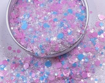 """Nail Glitter - """"Twin Star"""" [Pastel Blue/Pink/Sugar Glitter] - Nail Designs"""