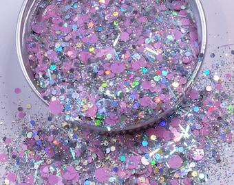 "Nail Glitter - ""Pink Lights"" [Pink/Holo Glitter] - Nail Designs"