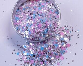 "Nail Glitter - ""Glitter Twin"" [Baby Blue/Pink/Silver Glitter] - Nail Designs"