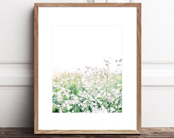 Wildflower Floral Print for Girls Room, Printable Botanical Art, Flower Field Photography Print Download