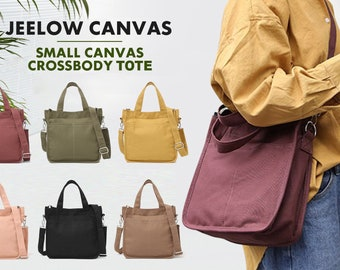 Jeelow Canvas Tote Handbag Shoulder Bucket Bag Crossbody Purses For Men & Women With Zipper Pockets
