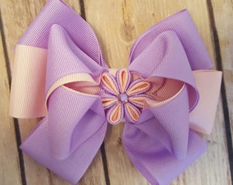 Purple and pink hair bow, hair bow for girls, hair clip, hair bow for women, hair accessories, pink, purple, flower bow