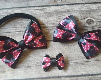 Minnie Mouse hair bow, pink hair bow, hair bow, hair clip, headband, mini clip, hair accessories, girl accessories, hair bow set, cute, fun