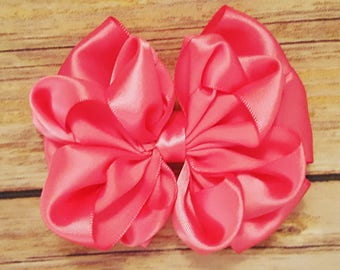 Pink ruffle hair bow, pink hair clip, hair accessories, elegant hair bow, hair bow for girls, hair bow for women, hair clip for women