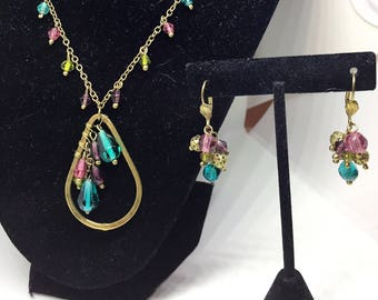 Danica Glass Pendant and Analise Cluster Earrings