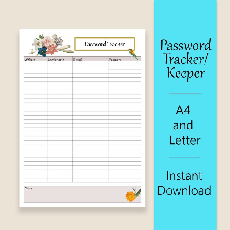 picture about Password Sheet Printable identify Pword Tracker, keeper. Printable pword sheet for login business enterprise. PDF. A4 and Letter Sizing