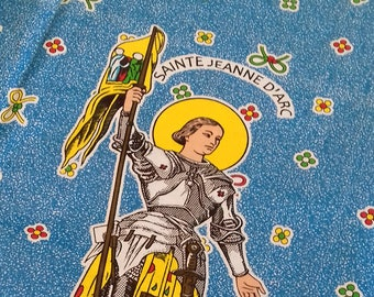 Religious Wax fabrics depicting Saint Joan of Arc, made in Africa