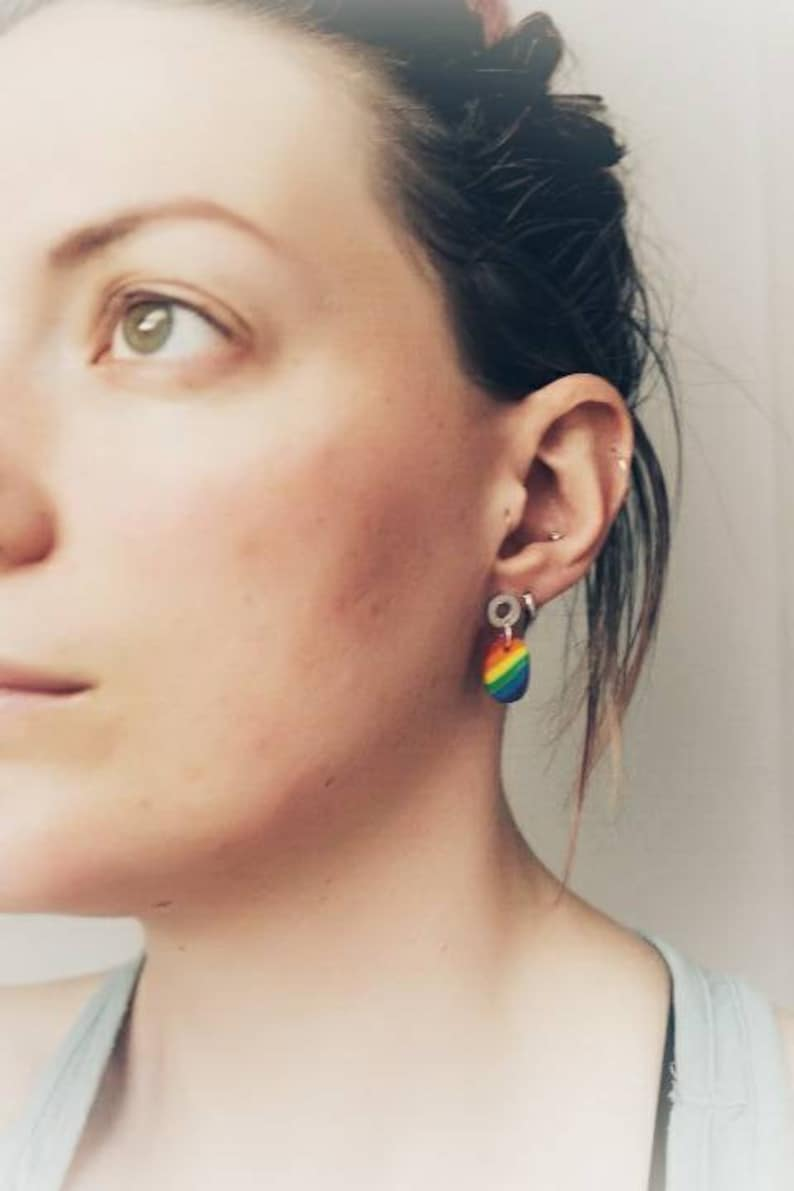 Rainbow Colour Colourful Pride Gay Lesbian Polymer Clay Earring Fashion Earrings Plastic Gift For Her Silver Circle Stud Pierced Ears