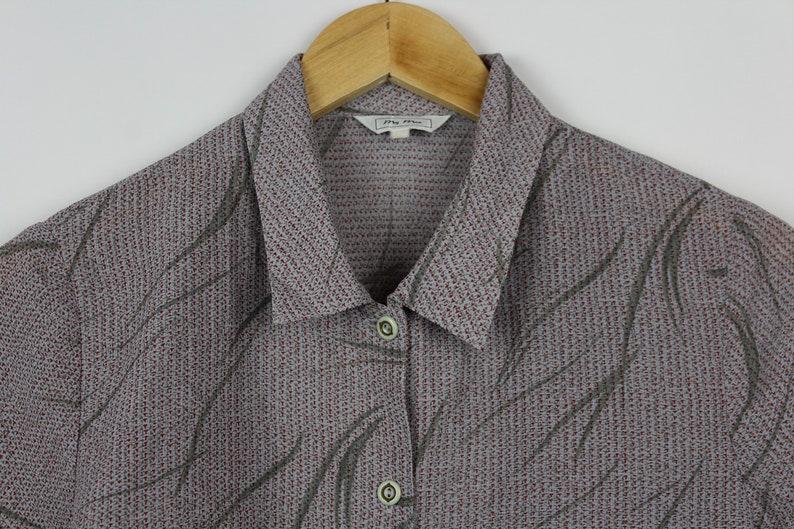 Crop Top Button Down Blouse Leaf Pattern Vintage Cropped Button Up Women