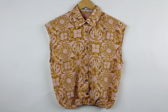 VINTAGE 90s Black Cotton Button-Down Front w Shell Buttons   Size S SALE!