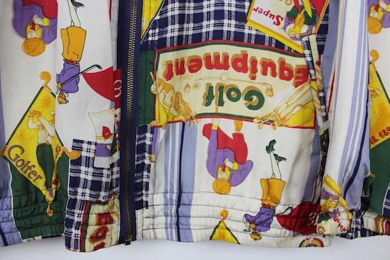 Crazy Print Silk Jacket, Vintage, Retro, Golf Pat… - image 6