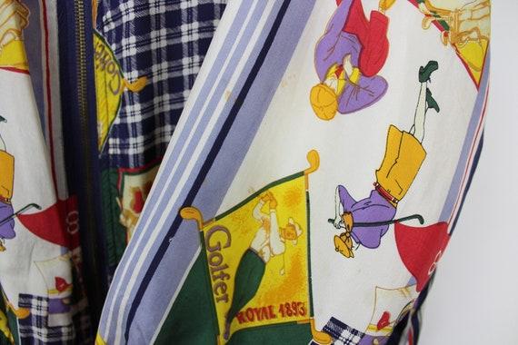 Crazy Print Silk Jacket, Vintage, Retro, Golf Pat… - image 7