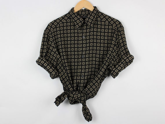 Square Pattern Button Up Shirt Large, Black Gold,