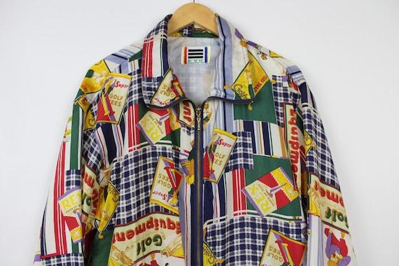 Crazy Print Silk Jacket, Vintage, Retro, Golf Pat… - image 1