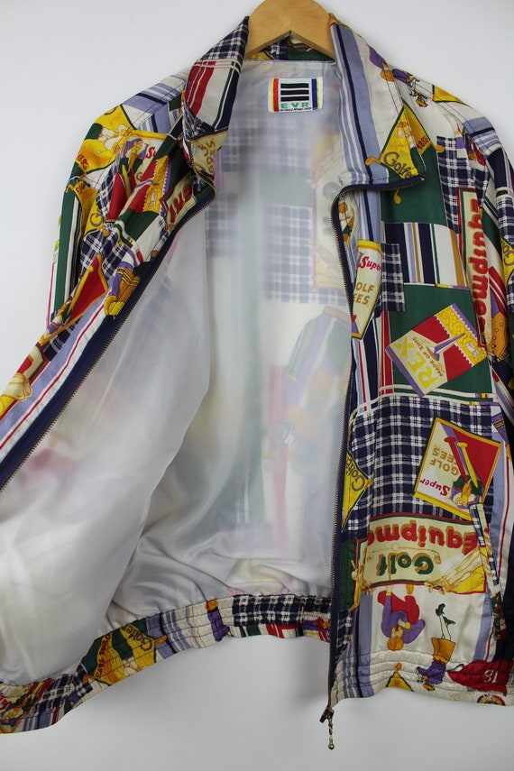 Crazy Print Silk Jacket, Vintage, Retro, Golf Pat… - image 4