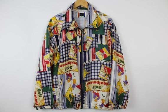 Crazy Print Silk Jacket, Vintage, Retro, Golf Pat… - image 2