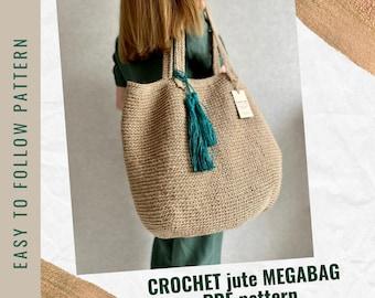 Crochet Tote Bag Pattern, PDF Pattern Crochet Jute Bag, Easy Crochet Purse Pattern, Crochet Jute Beach Bag Pattern, Bag Crochet Pattern