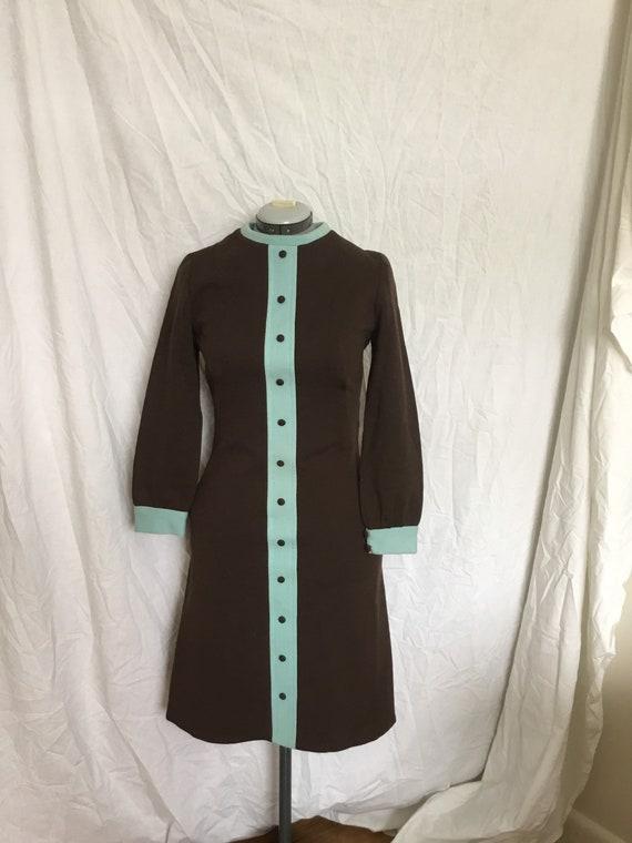 Vintage 50s/60s Wool Brown & Blue Wiggle Dress