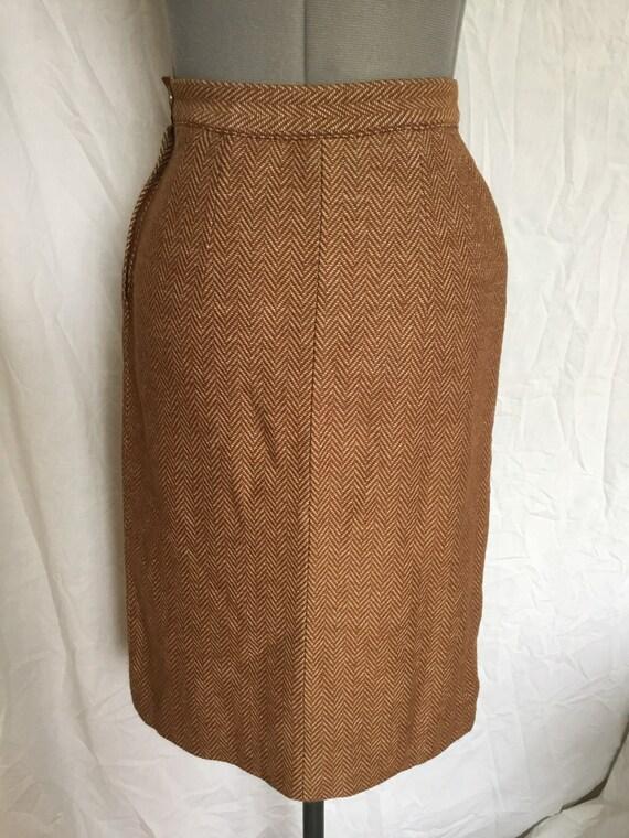 Vintage 40s/50s Jantzen Wool Herringbone Skirt w/