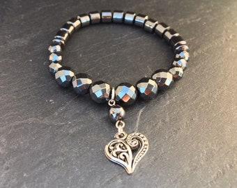 Hematite bracelet with heart charm, protection bracelet