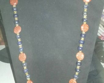 Lapis and goldstone necklace
