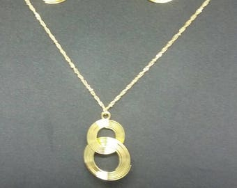 Gold plated linked necklace and earring set