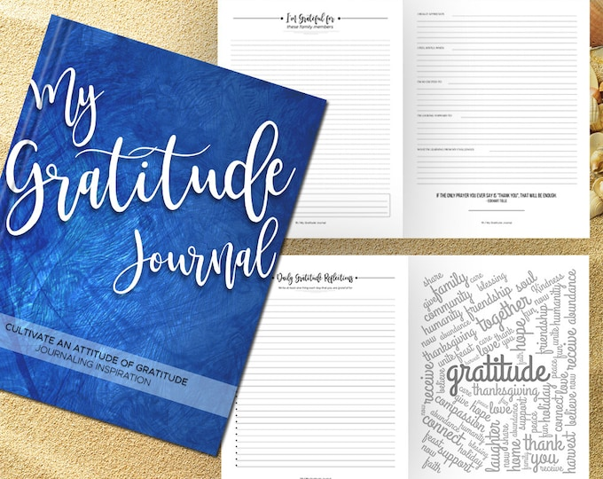 Gratitude Journal Writing Prompts. Notebook. Daily Guided Journal Book. Quotes. Thankful Journal. To Write In. Writing Journal. Royal Blue.