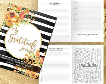 Gratitude Journal Writing Prompts. Notebook. Daily Guided Journal Book. Quotes. Thankful Journal. To Write In. Writing Journal. Black Stripe