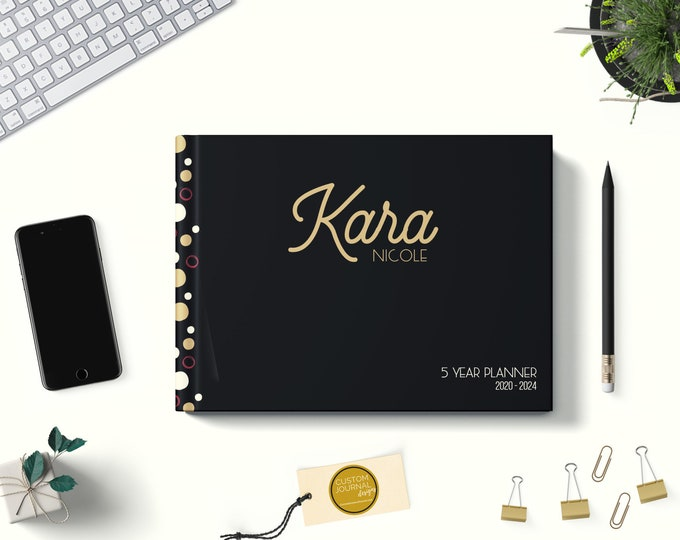 PERSONALIZED Custom Name 2021-2024 Four Year Monthly Planner Calendar. 48 Months 4 Year Appointment Planning Journal Notes. Black