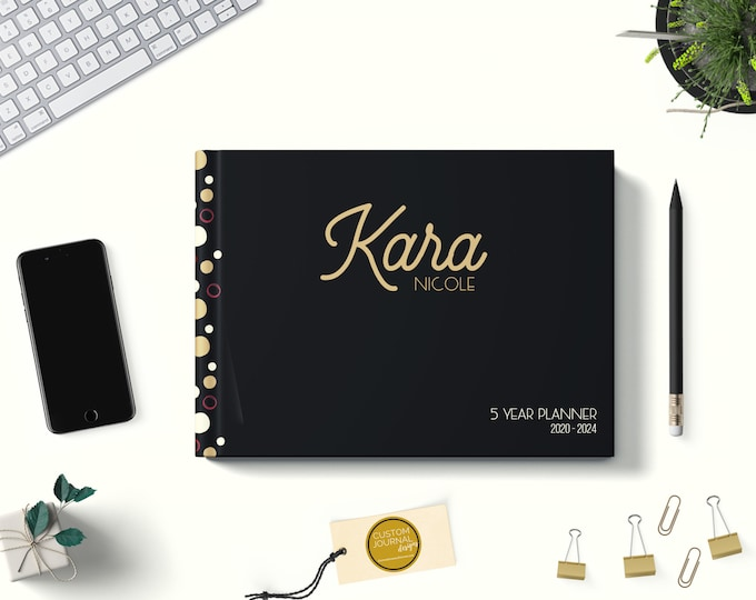 PERSONALIZED Custom Name 2020-2024 Five Year Monthly Planner Calendar. 60 Months 5 Year Appointment Planning Journal Notes. Black