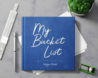 Bucket List Journal with Writing Prompts. Personalized Custom Name. Birthday Retirement Graduation Idea. Male Boss Men Women Blue Hardcover