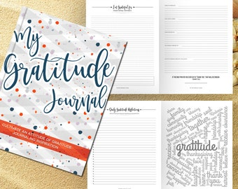 Gratitude Journal Writing Prompts. Notebook. Daily Guided Journal Book. Quotes. Thankful Journal To Write In. Writing Journal. Confetti Blue