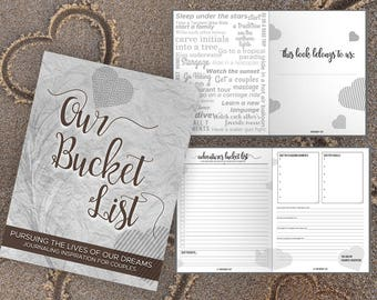 Bucket List for Couples Journal Book Writing Prompts. Wedding Anniversary Bridal Shower Engagement Retirement Gift. Date Night Ideas. Grey