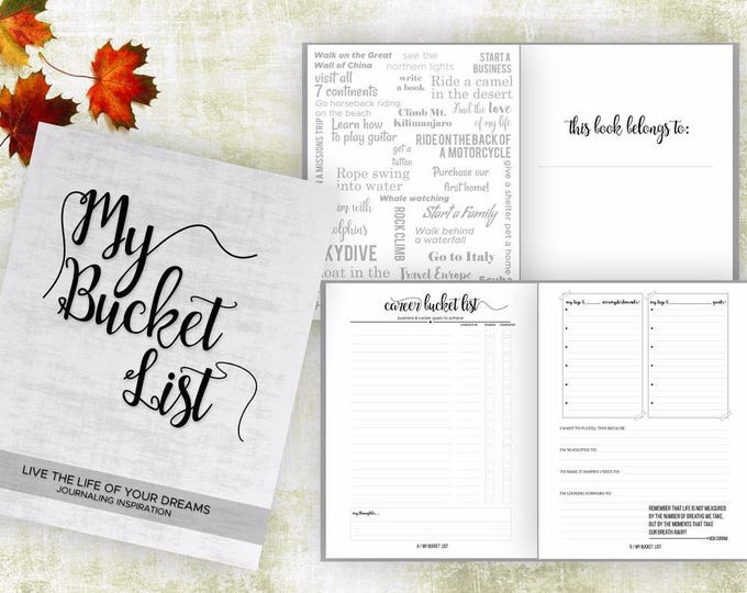 Bucket List Journal. Planner. Writing Prompts. Guided Journal. Bucket List Gift. Bucket List Notebook. Goals. Adventure gifts. White journal