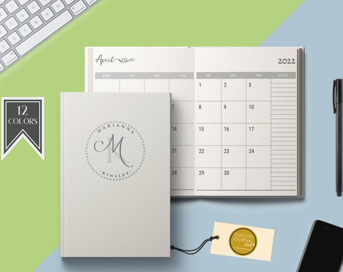 2020-2024 Five Year Monthly Planner Calendar. Personalized Custom Name Monogram Letters. Hardcover 60 Months 5 Year Planning Journal Notes.