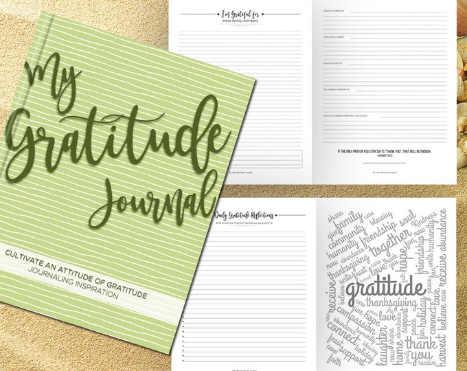 Gratitude Journal Writing Prompts. Notebook. Daily Guided Journal Book. Quotes. Thankful Journal. To Write In. Writing Journal. Sage Green.