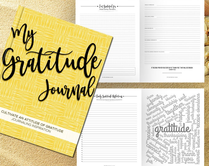 Gratitude Journal Writing Prompts. Notebook. Daily Guided Journal Book. Quotes. Thankful Journal. To Write In. Writing Journal. Yellow.
