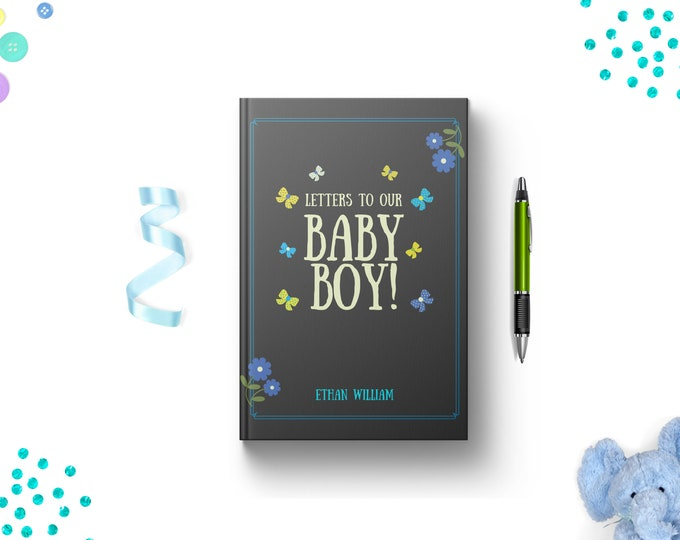 PERSONALIZED Letters to Our Baby Boy Journal. Lined. Dot Grid. Blank. Hardcover Keepsake Memory Gift Idea. Expecting Parents of Infant Son.