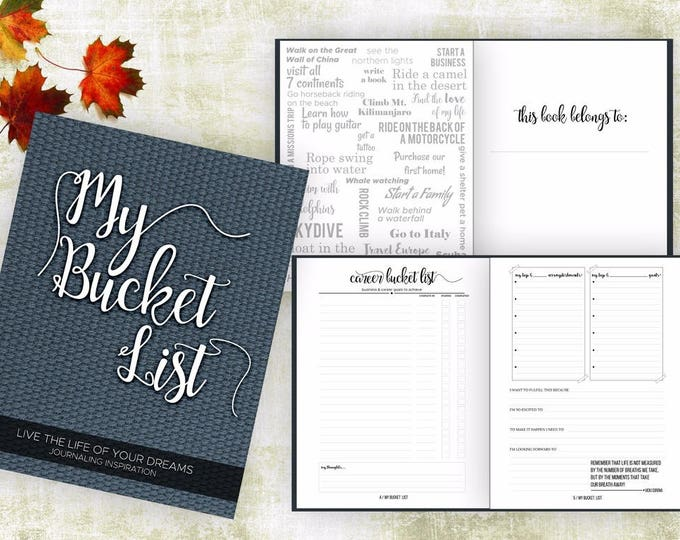 "Bucket List Journal Planner with Writing Prompts. 8.5"" x 11"" Bucket List Gift. Bucket List NoteBook. Goals Bucket List Guided Journal, Denim"
