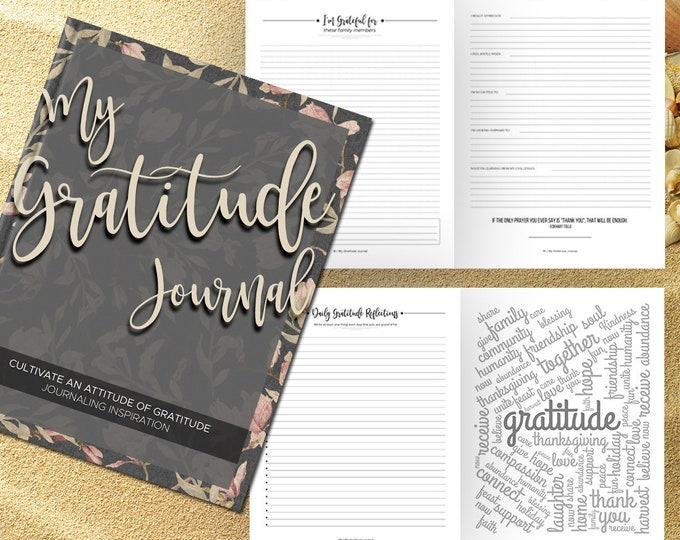 Gratitude Journal Writing Prompts. Notebook. Daily Guided Journal Book. Quotes. Thankful Journal. To Write In. Writing Journal. Gray Floral.