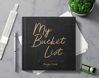 Bucket List Journal with Writing Prompts. Personalized Custom Name. Birthday Retirement Graduation Idea. Male Boss Men Women Black Hardcover