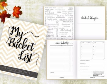 Bucket List Journal. Planner. Writing Prompts. Guided Journal. Bucket List Gift. Bucket List Notebook. Goals. Adventure gifts. Cream Journal