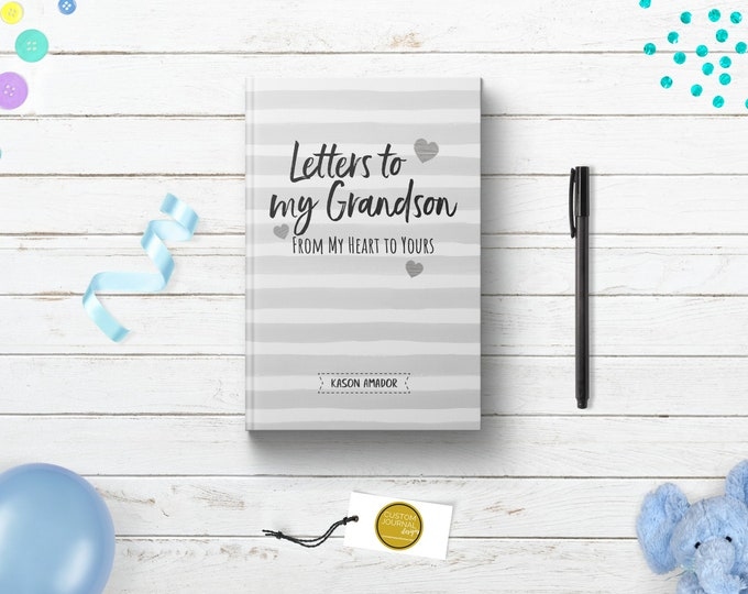 Letters To My Grandson Boy Journal. Personalized Custom Name. Grandparent Grandmother Grandfather Soon To Be Keepsake Gift. Grey Hardcover.