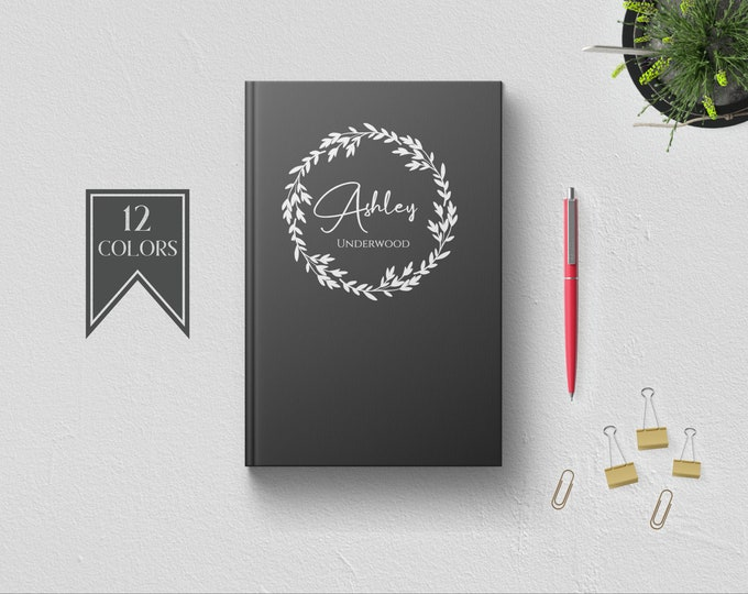 Personalized Writing Journal. Custom Name Hardcover. Lined Dot Grid. Cute Gift for Women - Mom Wife Sister Daughter Best Friend Boss Teacher