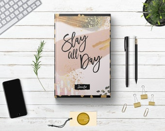 PERSONALIZED Slay All Day Writing Journal. Custom Name. Women Her Sister Lady Boss Babe Gift Idea. Inspirational Quote. Rose Gold Hardcover