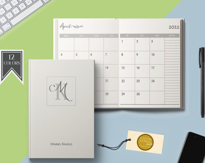 2021-2025 Five Year Monthly Planner Calendar. Personalized Custom Name Monogram Letters. Hardcover 60 Months 5 Year Planning Journal Notes.