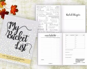 Bucket List Journal. Planner. Writing Prompts. Guided Journal. Bucket List Gift. Bucket List Notebook. Goals. Adventure gifts. Gray Journal.