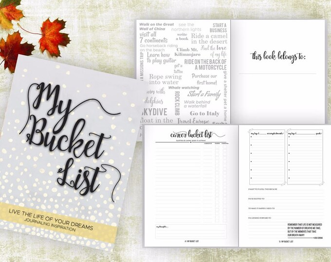 Bucket List Journal. Planner. Writing Prompts. Guided Journal. Bucket List Gift. Bucket List Notebook. Goals. Adventure gifts. Gray Journal.